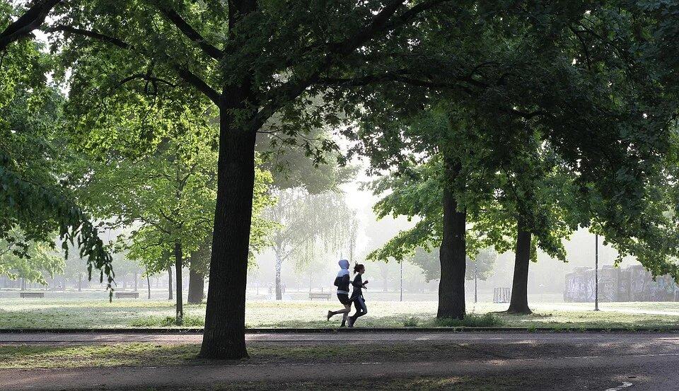corriendo parque