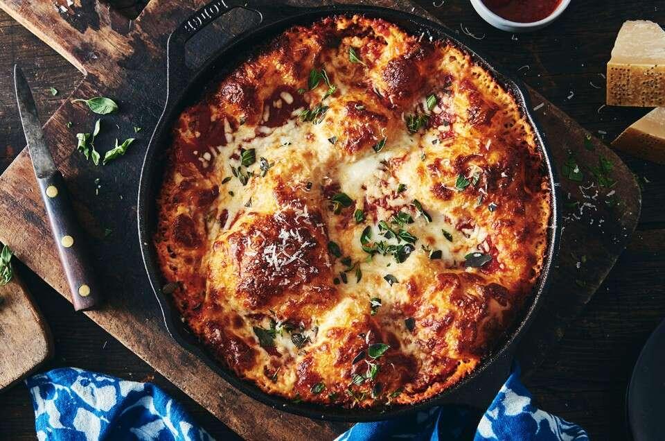 resultado de la receta de pizza en sartén