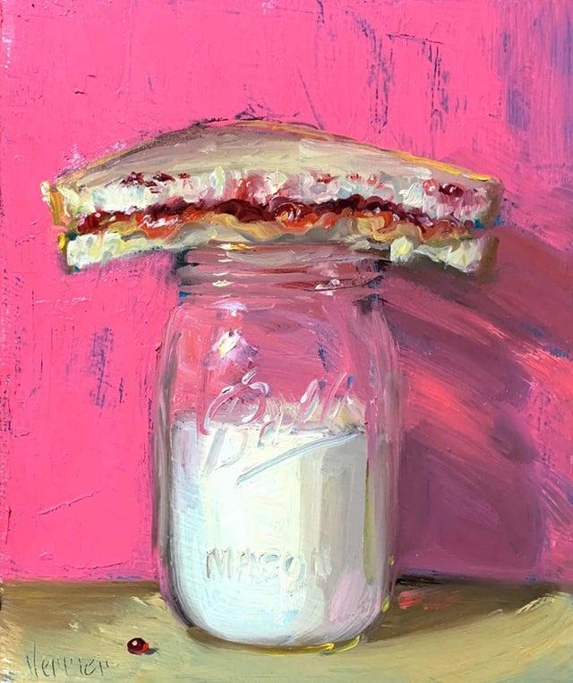 PBJ & Jar of Milk (pink & gold)