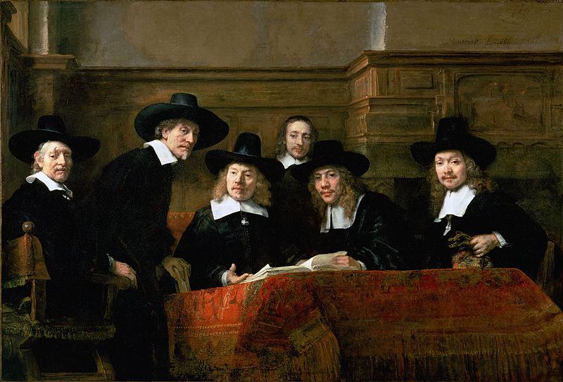Los miembros de la guilda de los pañeros de Ámsterdam