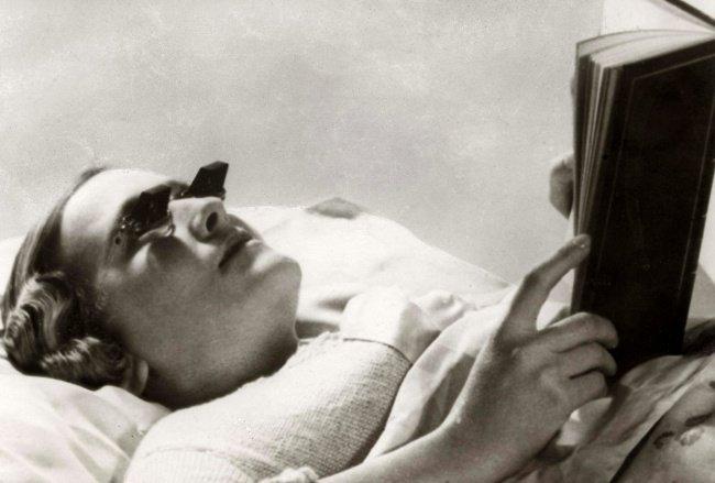 gafas para leer tumbados invento