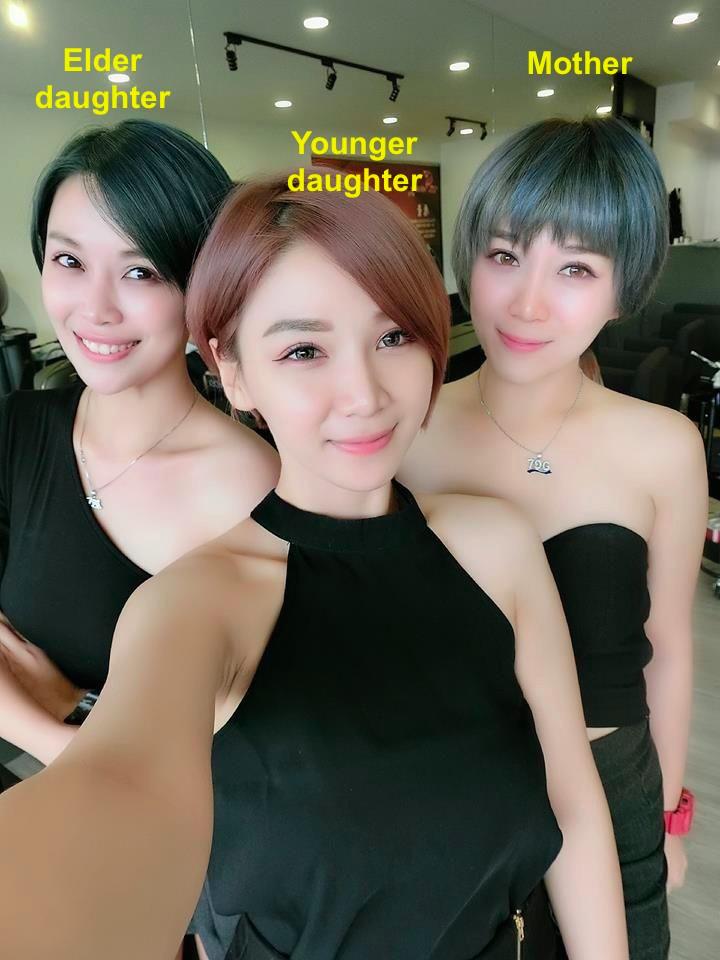 madre e hijas asiáticas