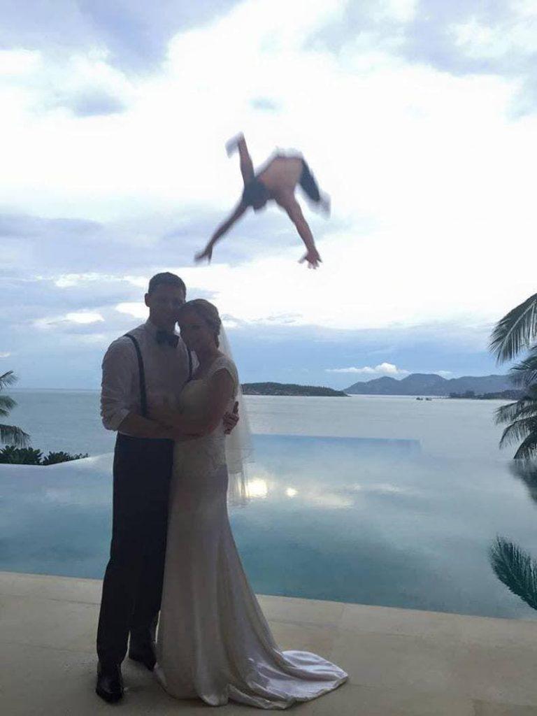 Pareja hombre volador fotografías mejor momento