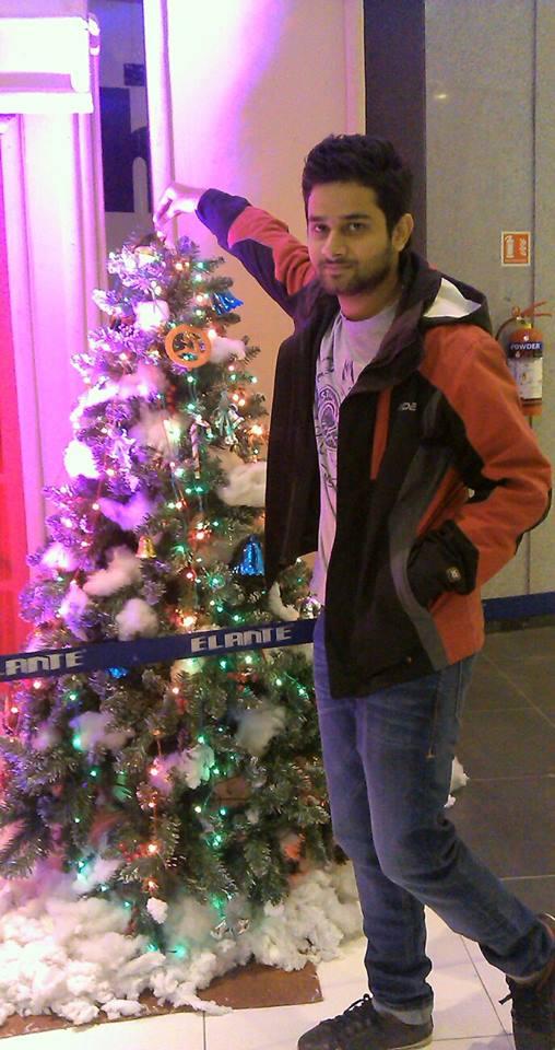 akrit con un árbol de navidad