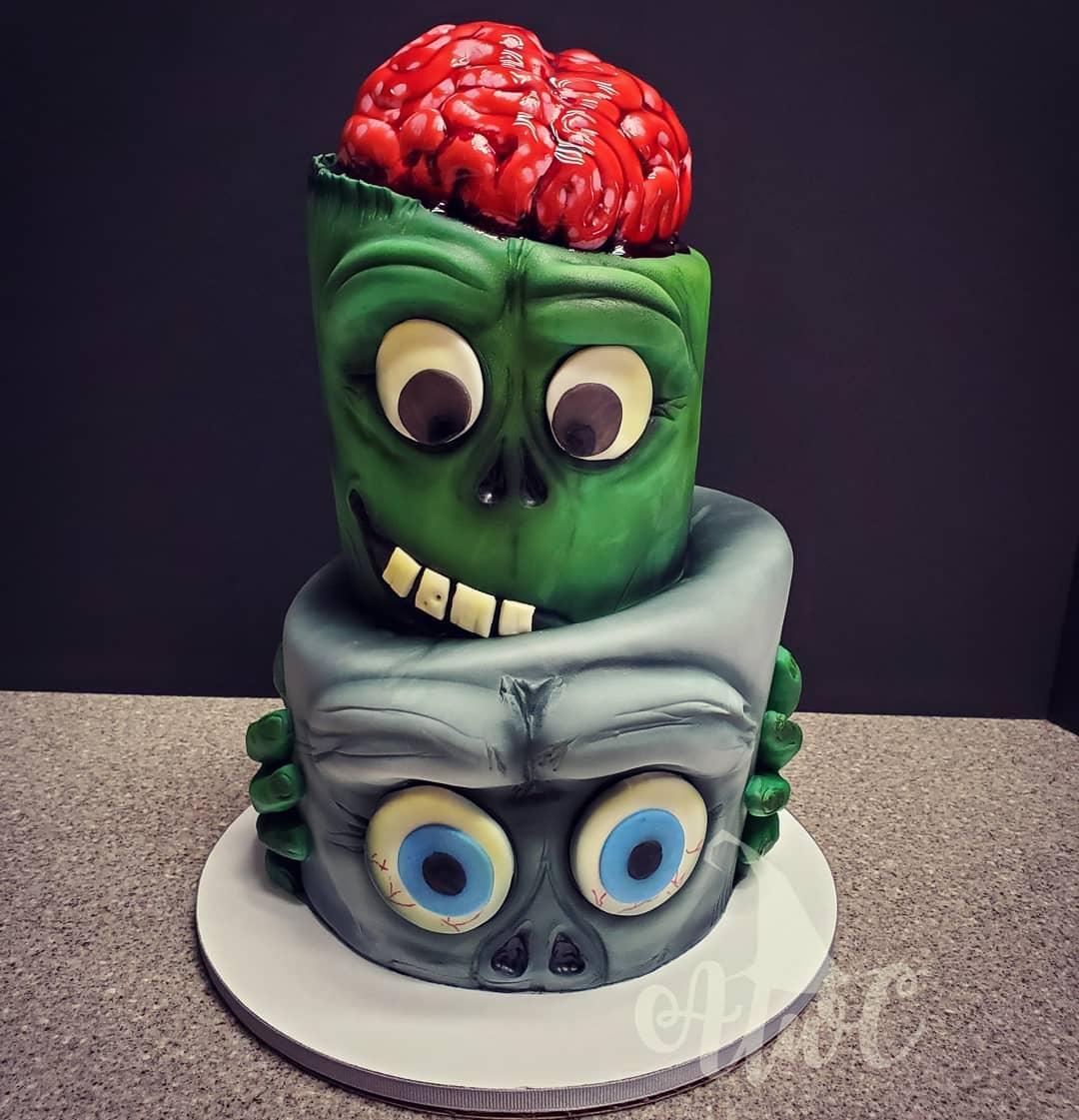 Tarta zombies y cerebro