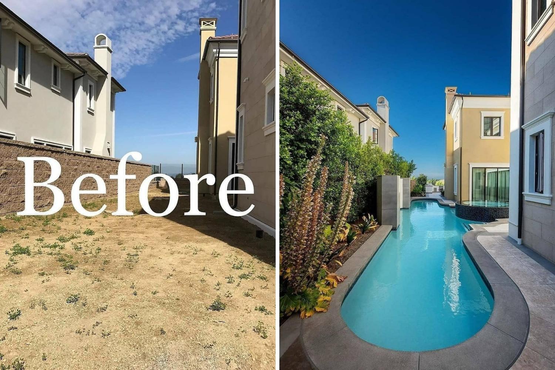 patio con piscina reforma antes y después