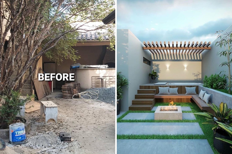 patio transformación antes y después de reformar