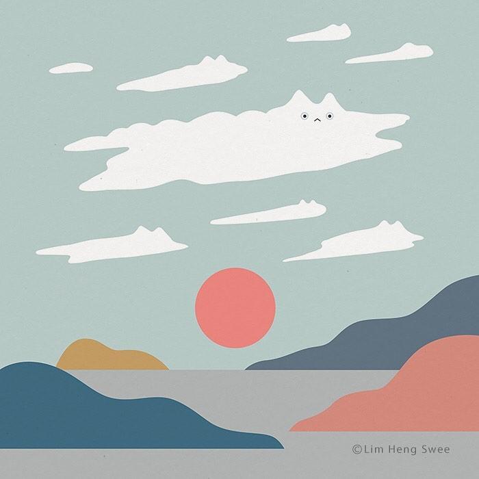 nube con forma de gato