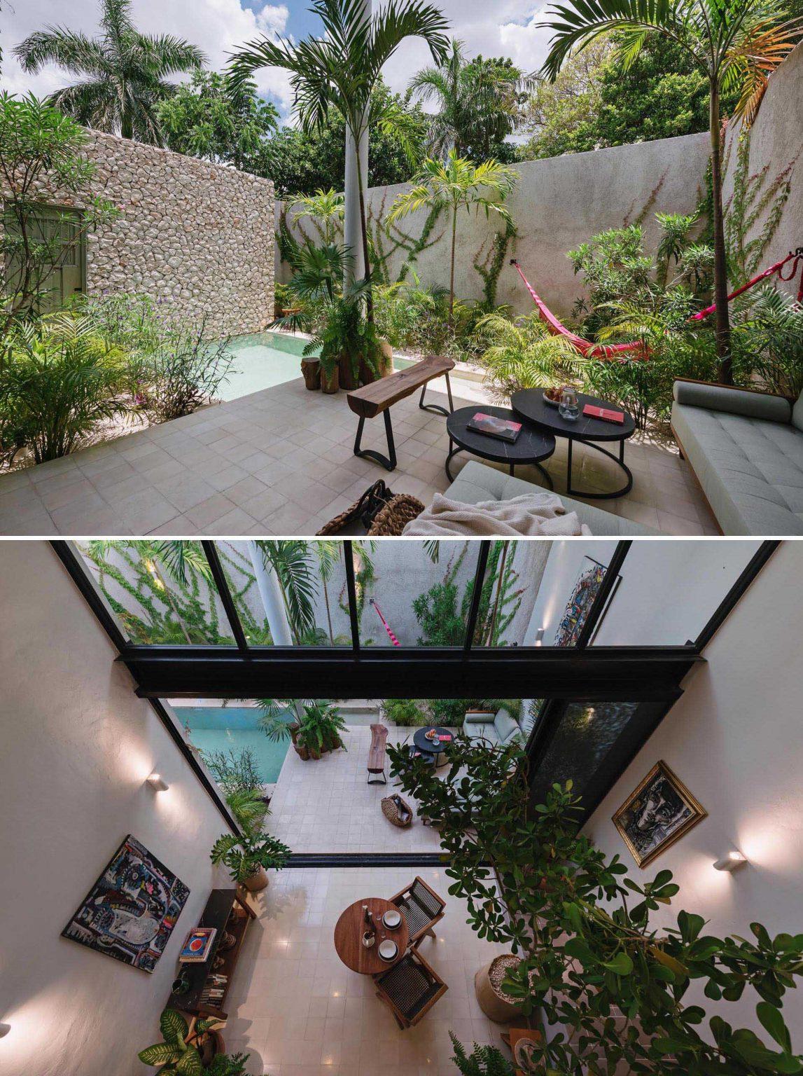 casa moderna con plantas