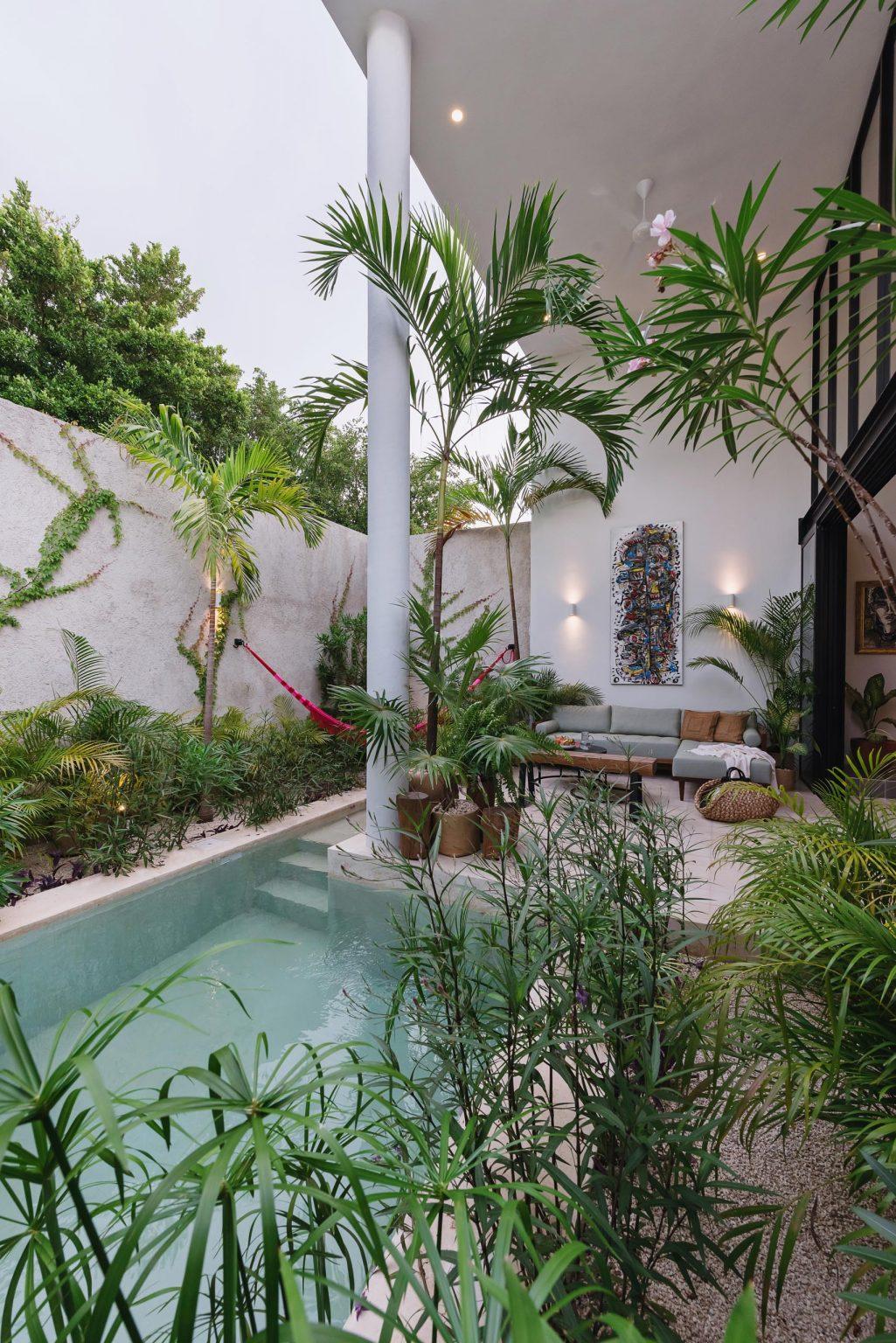 piscina con vegetación