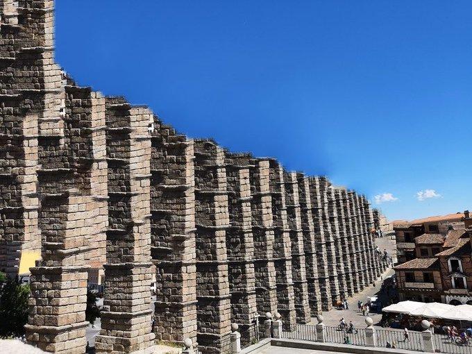 Acueducto de Segovia en obras