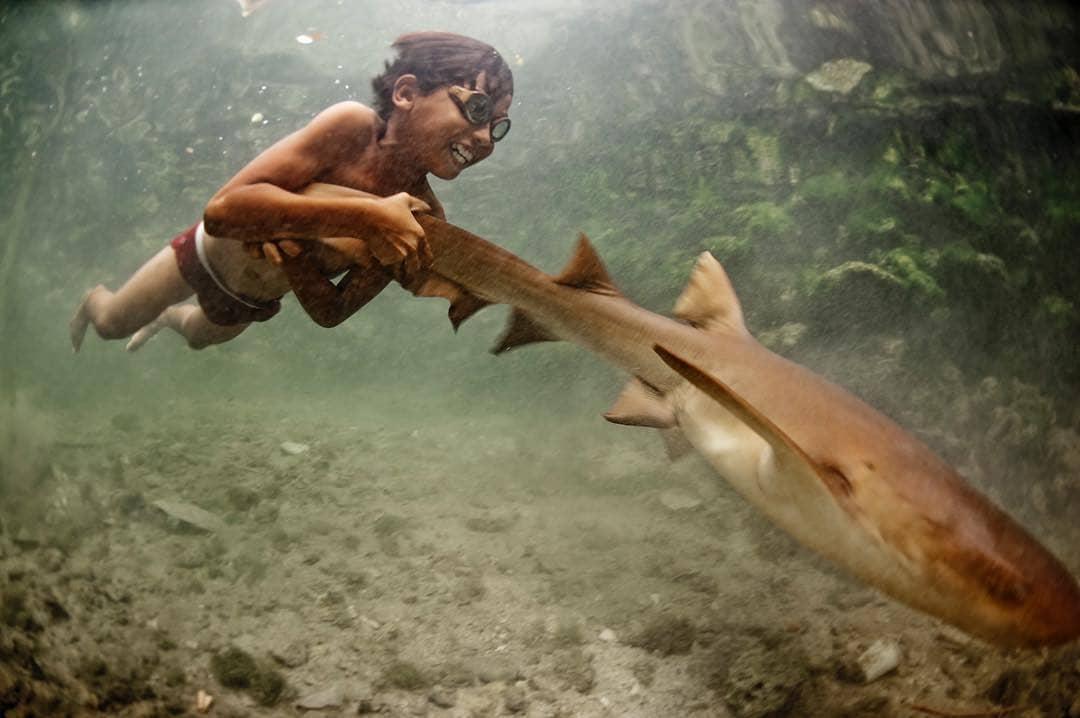 niño bajau nadando con tiburón