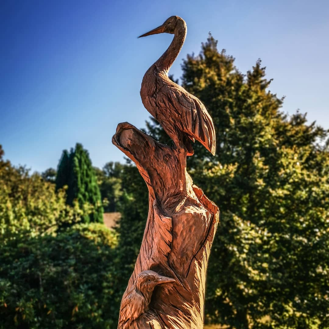 ave tallada en madera