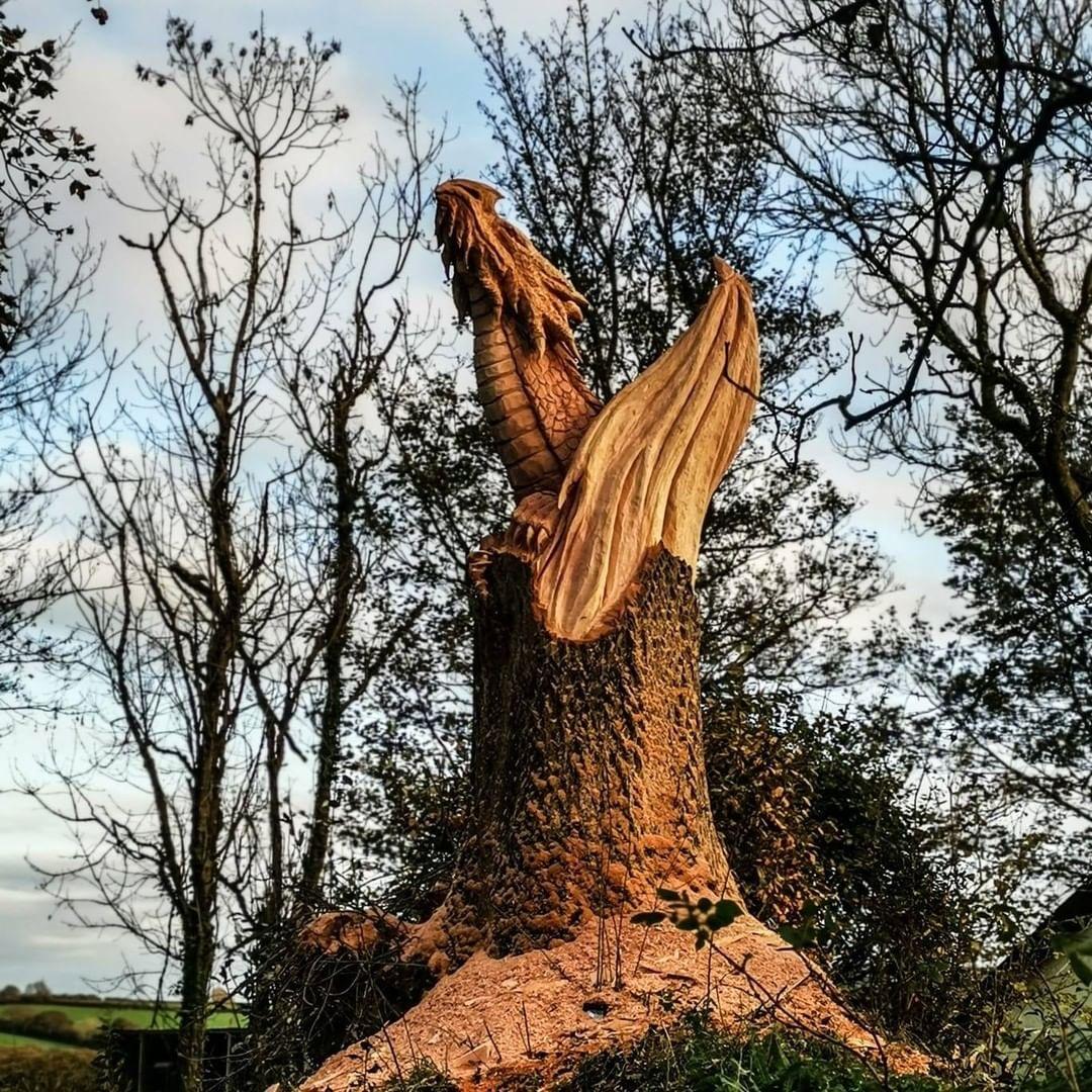 dragón tallado en un árbol
