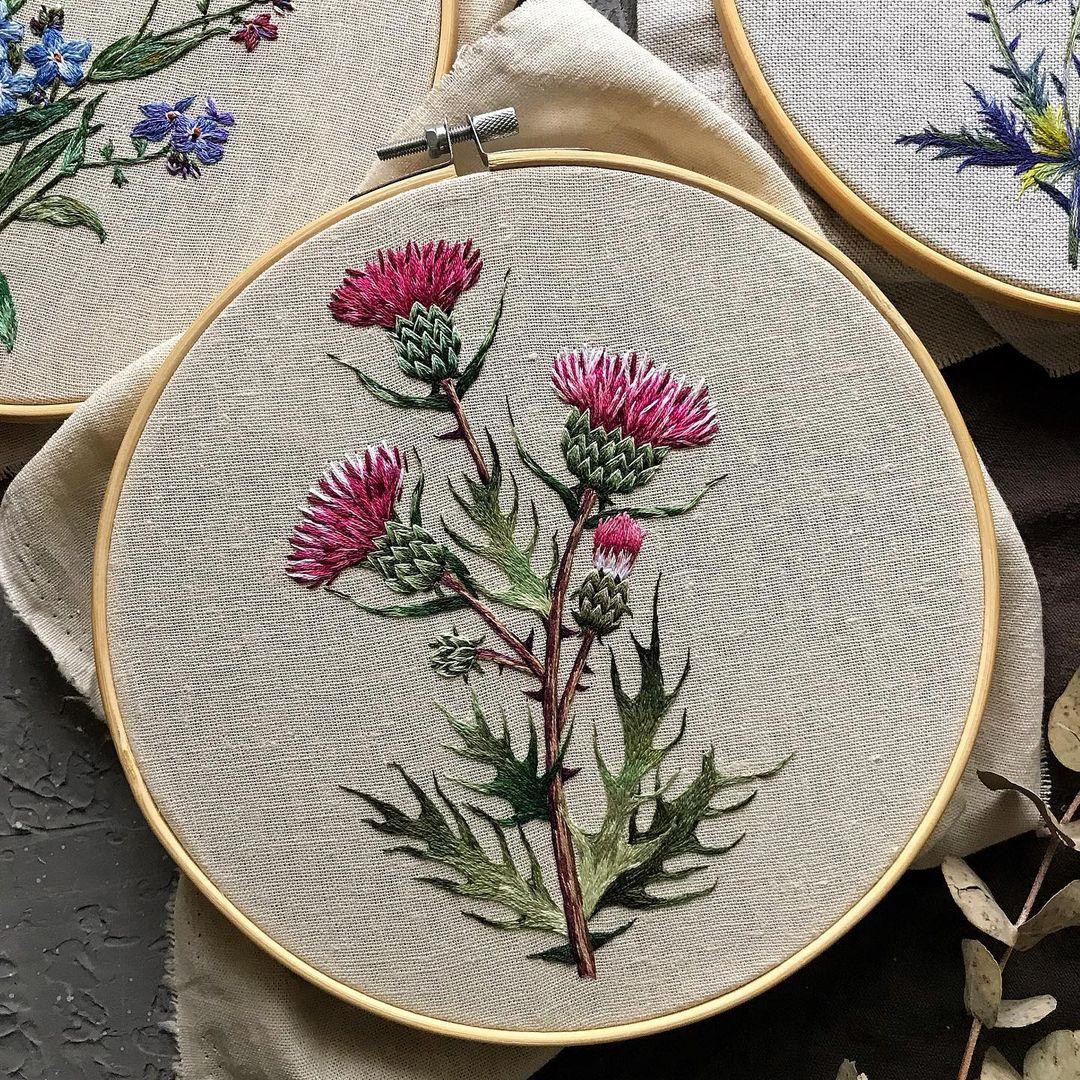 bordado flores rosas