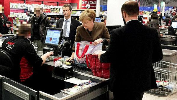 Merkel en el supermercado