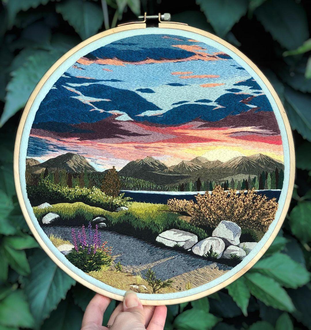 paisaje en bordado