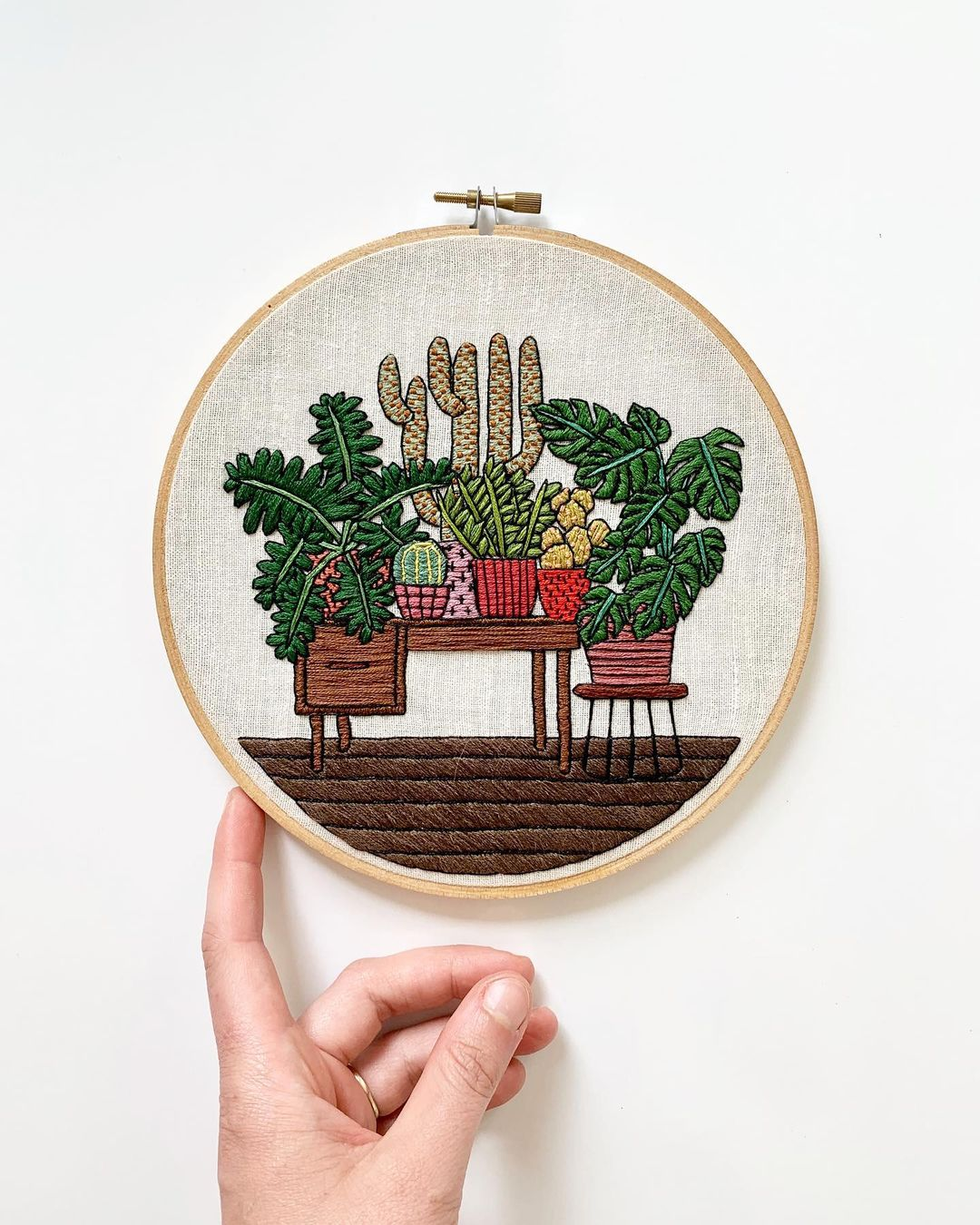 plantas y cactus bordados