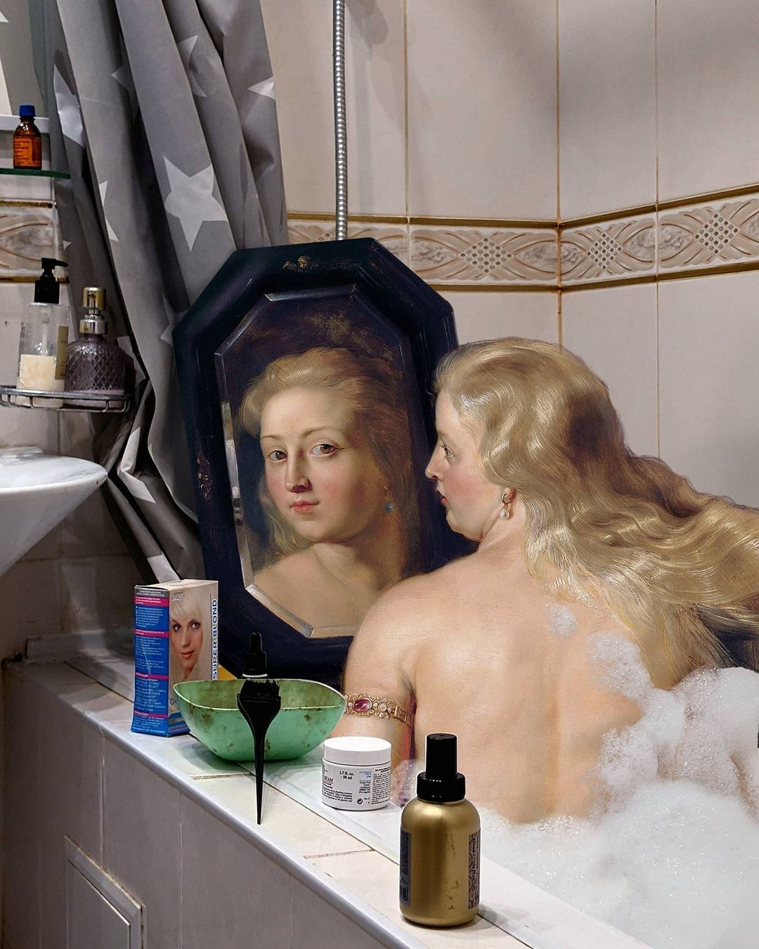 mujer neoclásica en la bañera