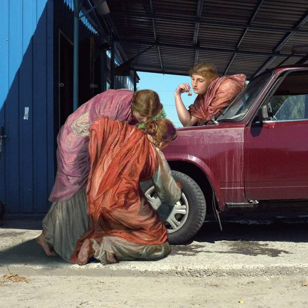 mujeres cambiando rueda