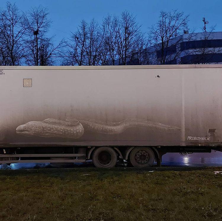 dibujo anguila en camion