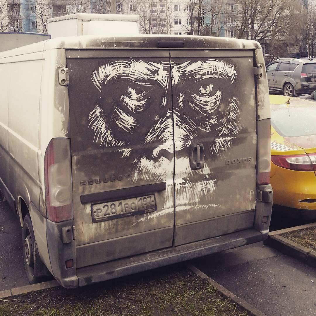 dibujo cara mono en camion