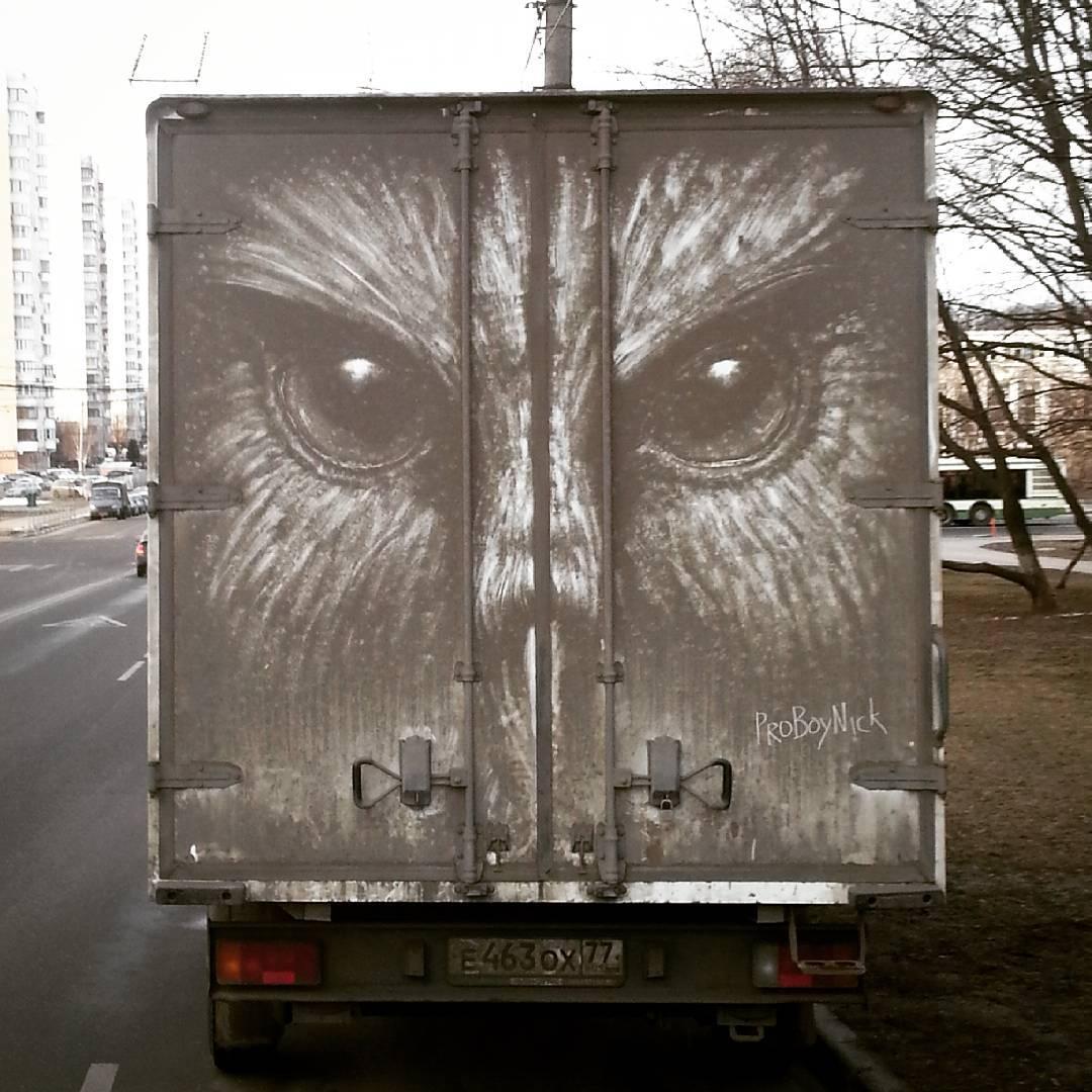 dibujo lechuza en camion