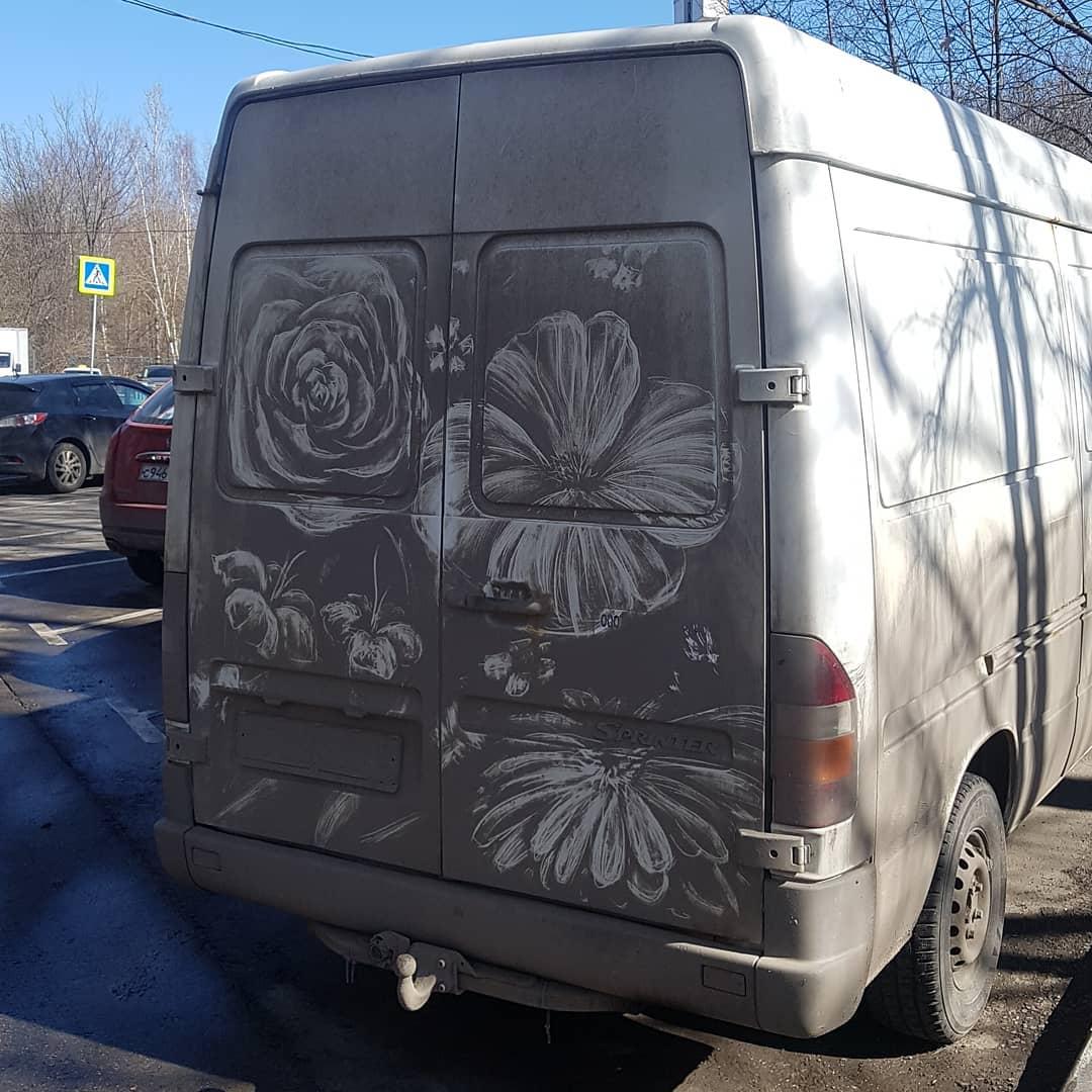 flores en camion sucio