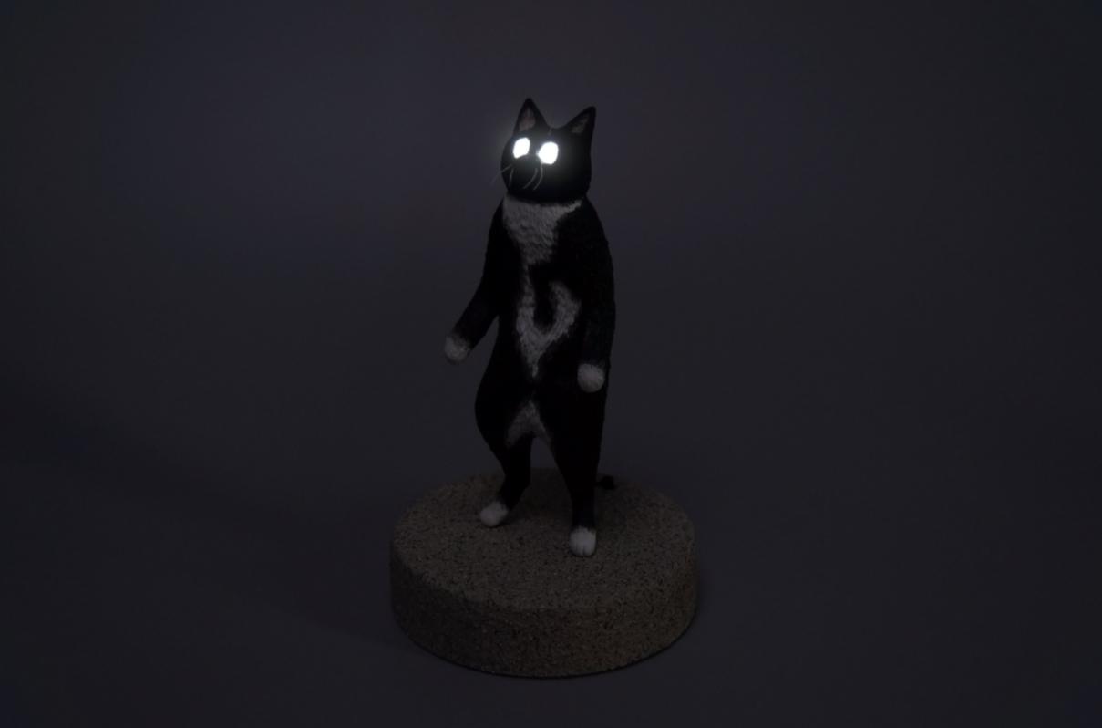 gato espeluznante escultura