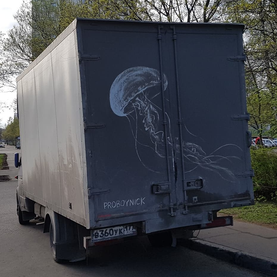 medusa en camion sucio