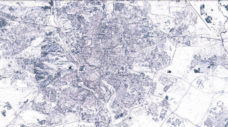 Madrid nevado desde el aire desde el aire