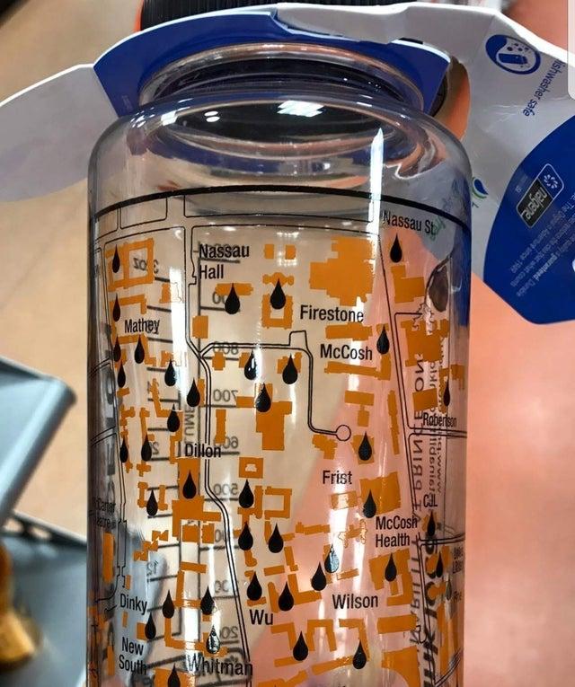 botella de agua con mapa