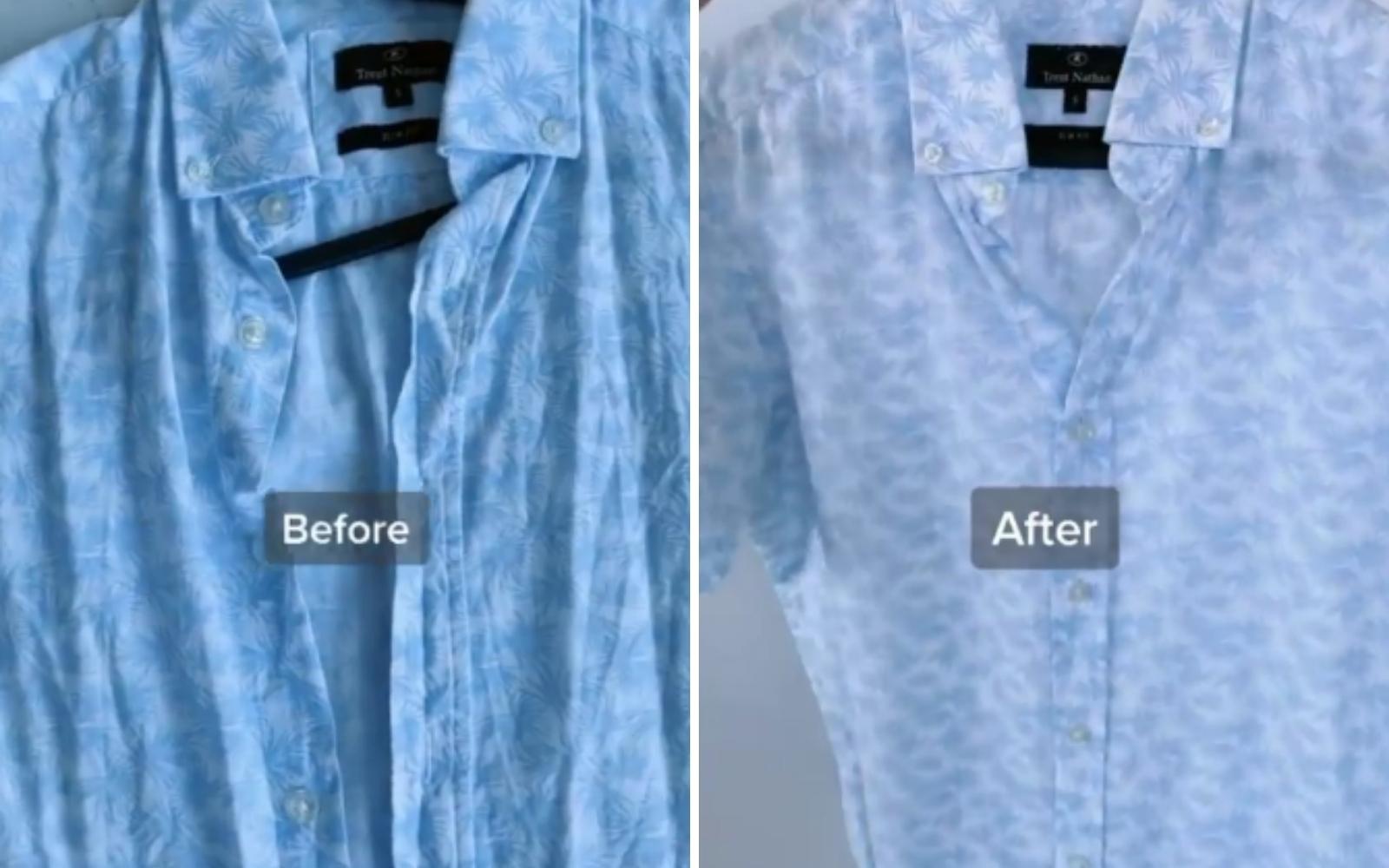vor und nach gebügeltes Hemd