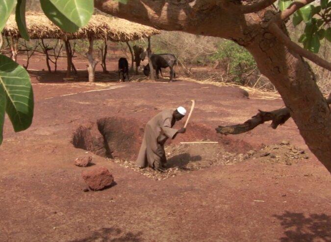 hombre haciendo agujero en la tierra