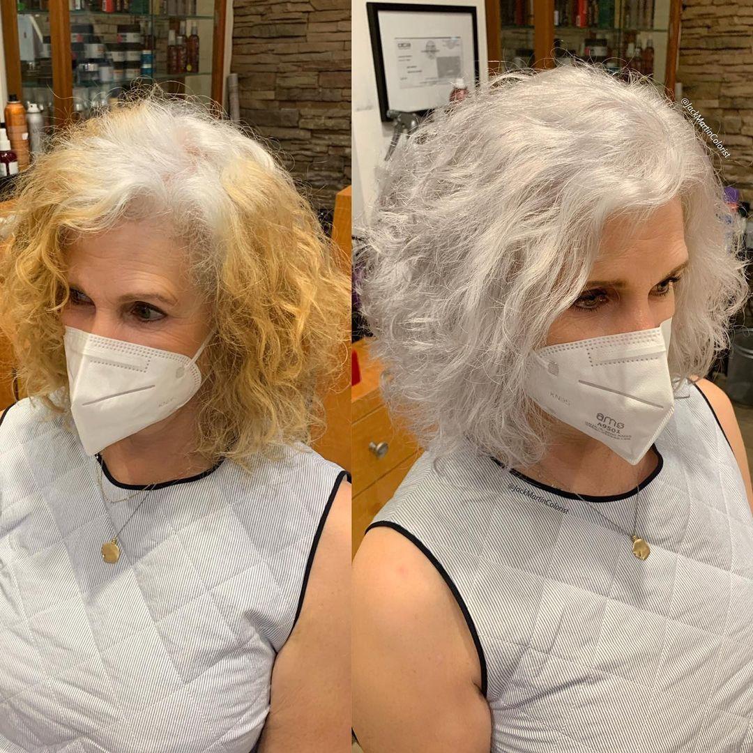 pelo blanco en mujer antes y después