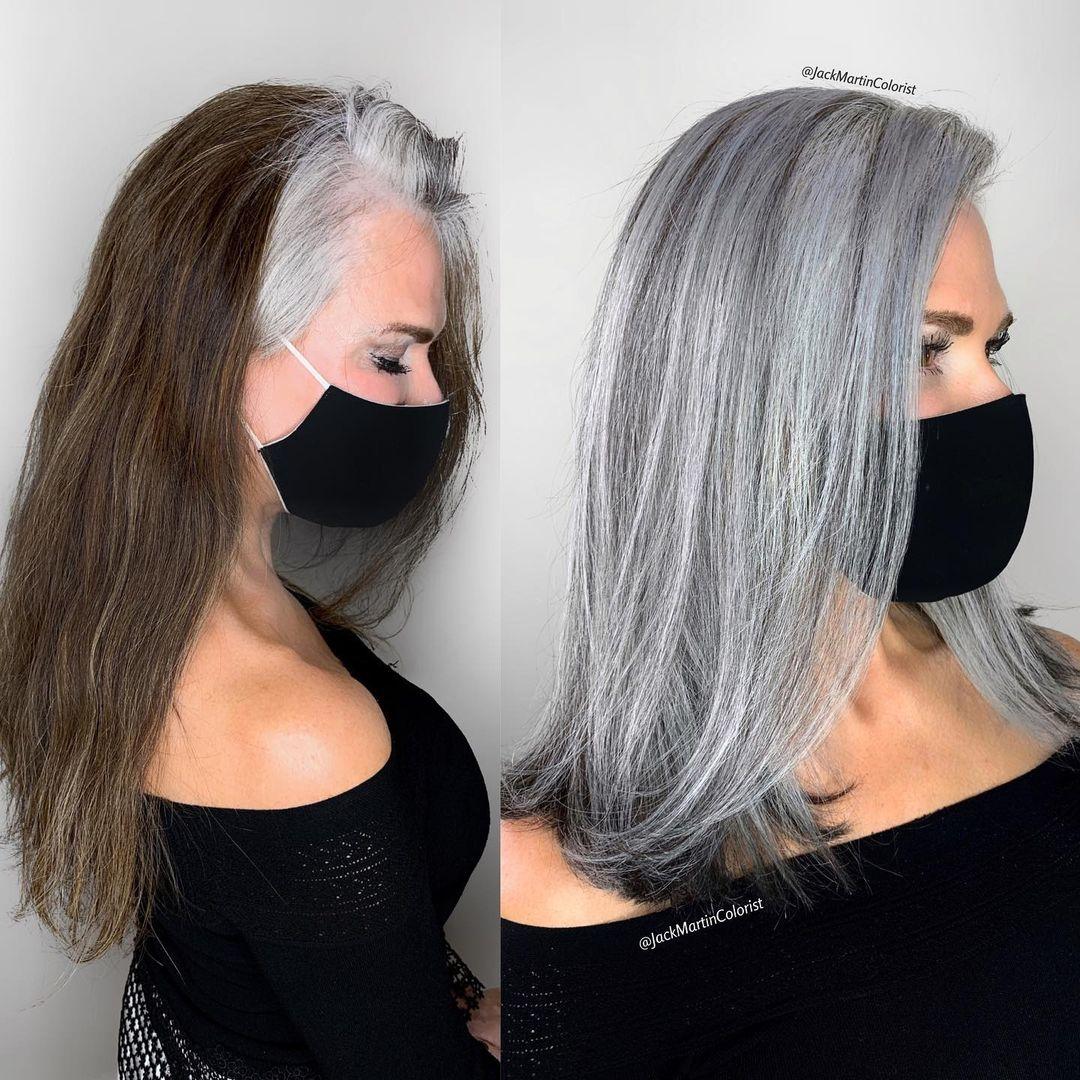 pelo largo y blanco