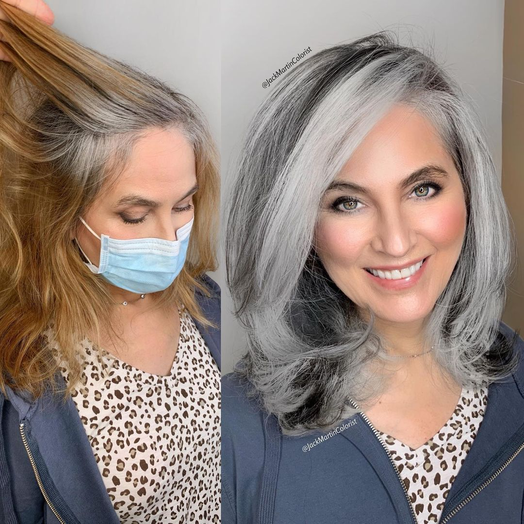 pelo plateado mujer antes y después