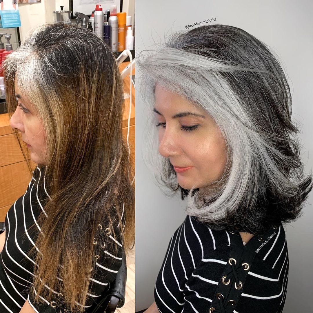 canas en la peluquería, antes y después