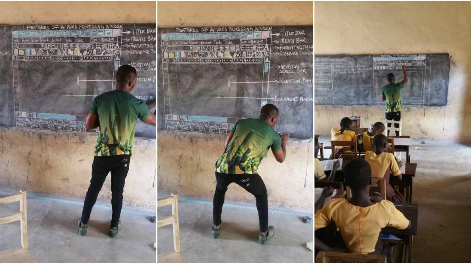 profesor de Ghana enseñando informática