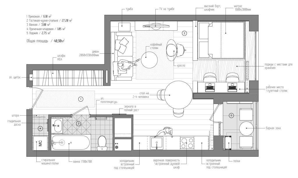 plano de vivienda de 40 metros