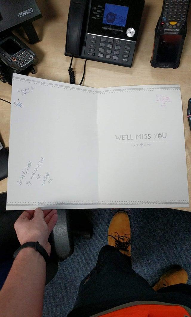 tarjeta de despedida vacía