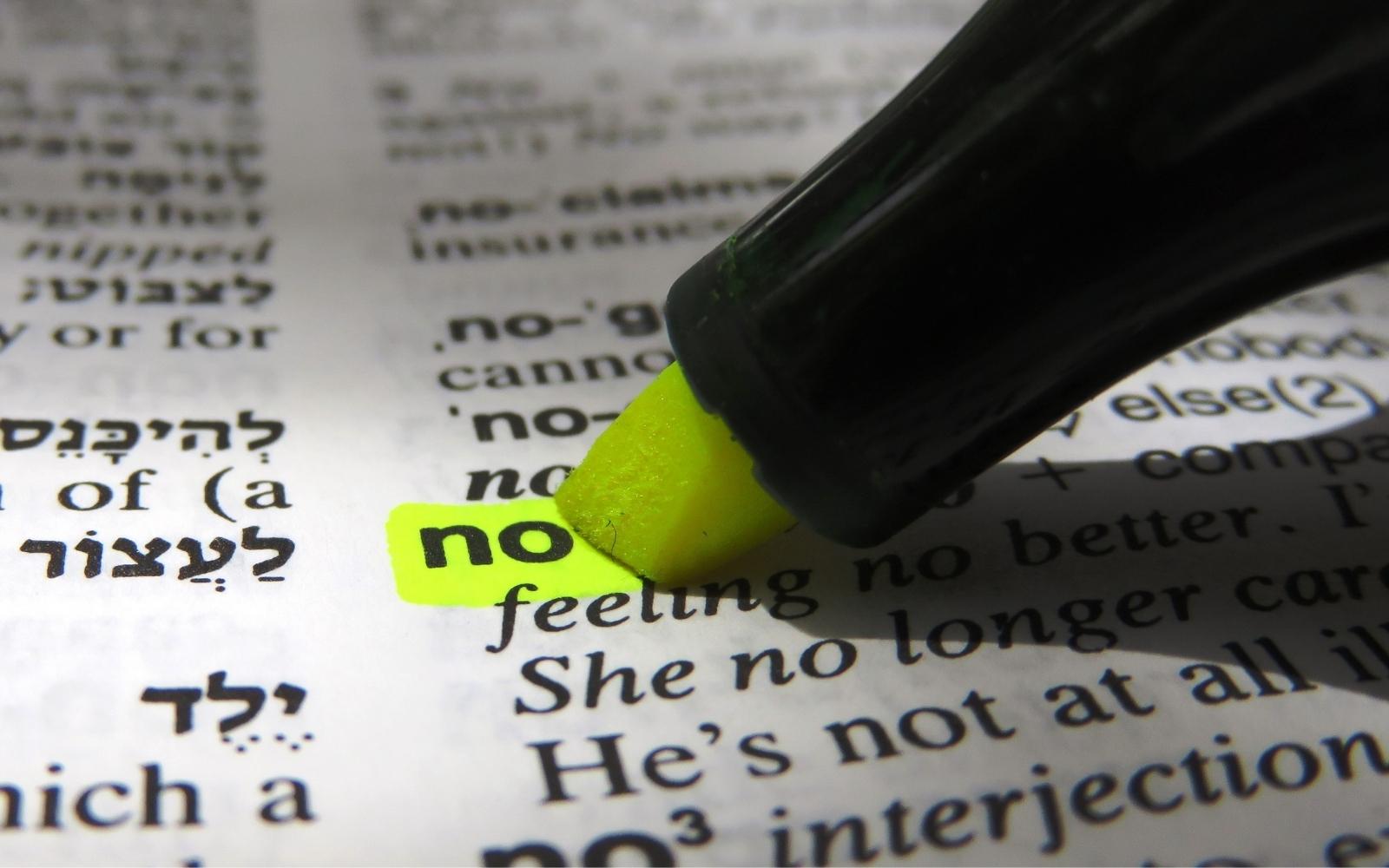 """""""no"""", diccionario"""