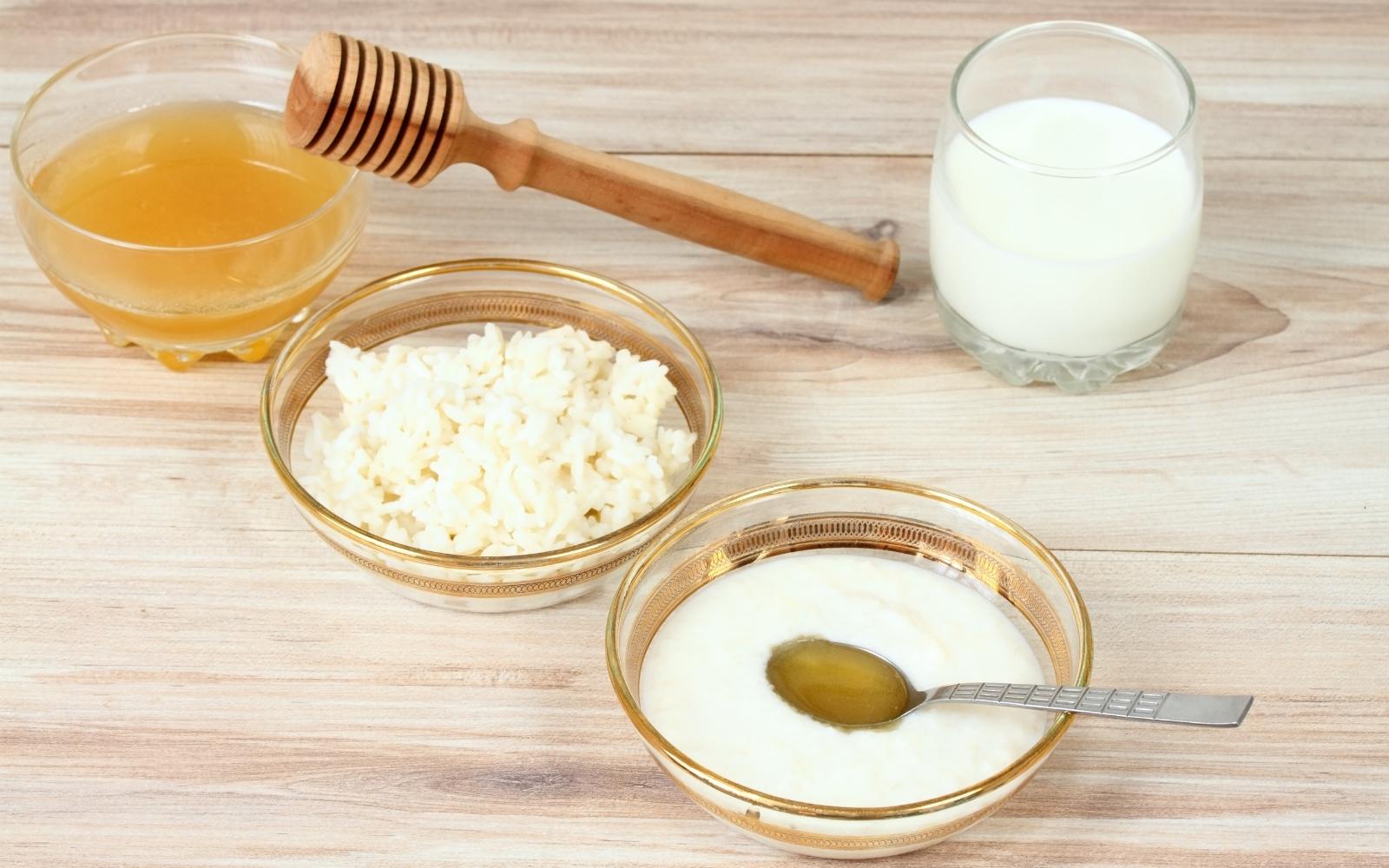 mascarilla de arroz, leche y miel